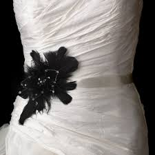 wedding sash bridal belt with black feather fascinator clip 1531