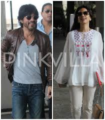 shah rukh khan juhi chawla spotted at the airport pinkvilla