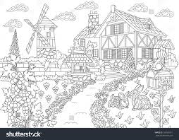 coloring page rural landscape farm house stock vector 726029317