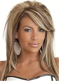 mixed color teased layered straight synthetic hair with one side