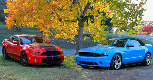 Black Mustang With Red Stripes Race Red Vs Deep Impact Blue Svtperformance Com