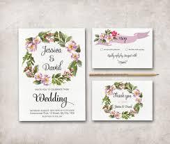 floral wreath wedding stationary set spring summer
