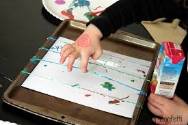 rubber band painting reading confetti