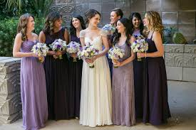 purple bridesmaid dresses groom magazine different shades of purple