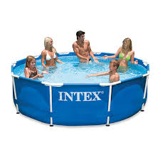 Intex Metal Frame Swimming Pools Metal Frame Swimming Pool Collapsible 28200 305x76 Cm Blue