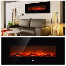 35 5 u2033 black metal wall mount fan forced electric fireplace with