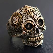 mens rings skull images Sterling silver biker sugar skull rings for men 19g solid jpg