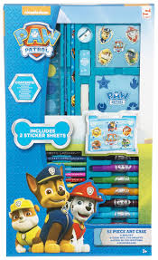 paw patrol 52 piece art case drawing marshall rubble chase