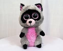 raccoon gray ty beanie boo rocco pink ears 6 stuffed plush sparkle