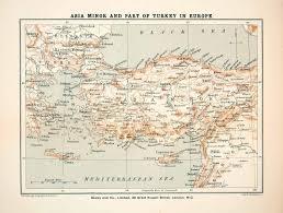 Asia Minor Map by 1910 Print Map Asia Minor Turkey Bulgaria Syria Greece