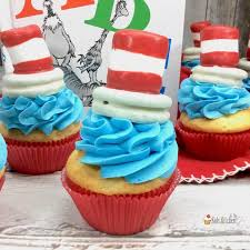 dr seuss cupcakes cat in the hat cupcakes for dr seuss day in the kids kitchen