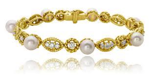 gold bracelet diamonds images Bracelet pearl diamond in18kt yellow gold tavannes hammerman png