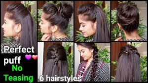 1 min perfect puff u0026 6 quick easy hairstyles for medium to long