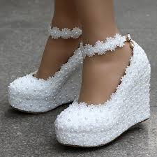 wedding shoes wedges white wedges wedding pumps sweet white flower lace