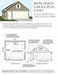 house plans with attic garage plans 2 car garage with attic truss plan 528 7 24 u0027 x 22