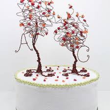 fall wedding cake toppers wire spray wedding cake topper custom from nouveautique on etsy