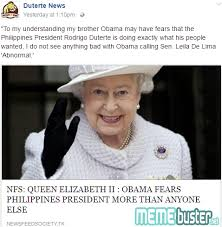 Queen Elizabeth Memes - busted queen elizabeth ii hinted that obama is scared of duterte