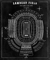 Lambeau Field Map Nfl Lambeau Field Football Stadium Print Blueprint On By Clavininc
