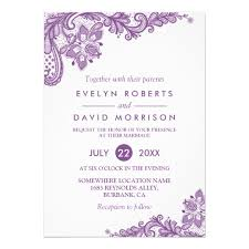 formal invitations lace lavender purple white formal wedding card zazzle