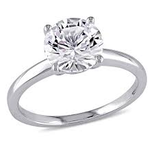 solitaire engagement ring miadora 10k white gold created white sapphire solitaire engagement