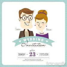 Marriage Invitation Websites Creative Cartoon Wedding Invitation Card Vector Free Download