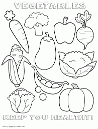 vegetables healthy and unhealthy food coloring pages