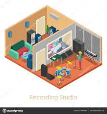 isometric music recording studio interior with singer vector 3d