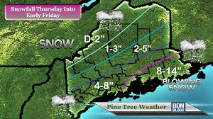 Map Of Maine Coast Storm To Bring Heavy Snow For Coastal Maine Pine Tree Weather