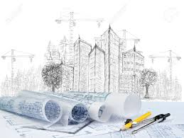 House Construction Blueprints Sketching Of Modern Building Construction And Plan Document