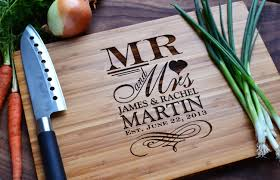 engraving wedding gifts personalized cutting board mr and mrs engraved bamboo wood for
