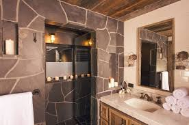 bathroom mirror ideas on wall double l shaped brown finish