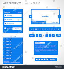 web site elements template color blue stock vector 145493659