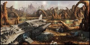 alian a h artstation the spaceship crash landed in an planet jin ah