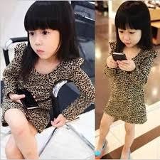 best 2016 spring baby leopard dress printed long sleeve girls