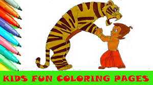 chhota bheem and tiger cartoon coloring pages kids fun art color