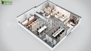 modern office 3d floor plan design by yantramstudio 3d modeling
