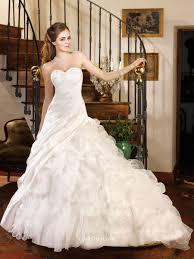 strapless sweetheart cascading ruffle cream bridal wedding dress