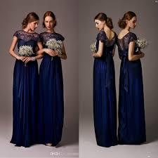 2017 navy blue bateau sheer lace long cheap bridesmaid dresses cap