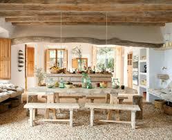küche mit esstisch rustikale möbel küche wohnzimmer esstisch moderne hängeleuchten