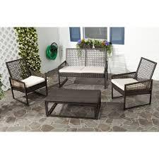 Outdoor Mesh Furniture by Safavieh Outdoor Living Pe Mesh Back Wicker Beige Cushion 4 Piece