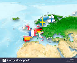 European Union Map 3d Map Of European Union With Flag And Eu Countries Highlighted In