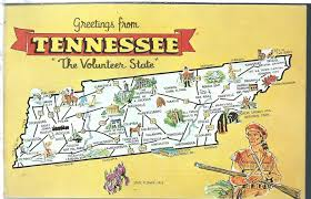 Map Of Alabama And Tennessee by Vintage State Map Postcard Greetings From Tennessee Chrome Genuine
