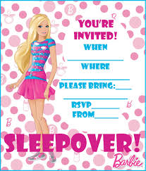 barbie coloring pages free barbie sleepover party invitation