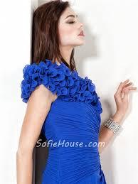 a line princess cap sleeve long royal blue chiffon evening dress