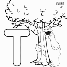 abc letter t tree sesame street cookie coloring page