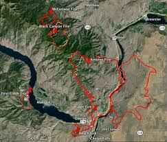 Wildfire Areas by Five Fires In Chelan Washington Area Evacuations Ordered