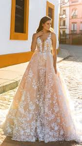 pink lace wedding dress picture of pink lace applique illusion plunging neckline