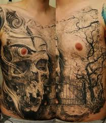 grey ink skull and tree on chest tattooshunt com