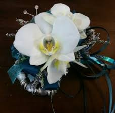 white orchid corsage teal and white orchid wristlet corsage in tillamook or
