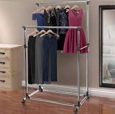 adjustable double rail rolling garment rack with brake wheels sorbus
